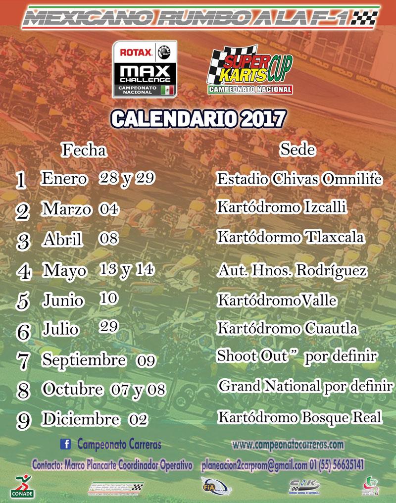Calendario Campeonato Nacional Rotax 2017