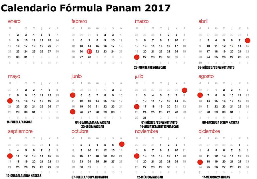 La Fórmula PANAM con calendario nuevo para 2017