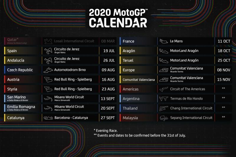 Anunciado el calendario para 2020: ¡MotoGP™ está de vuelta!