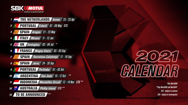 Desvelado el calendario provisional de WorldSBK 2021