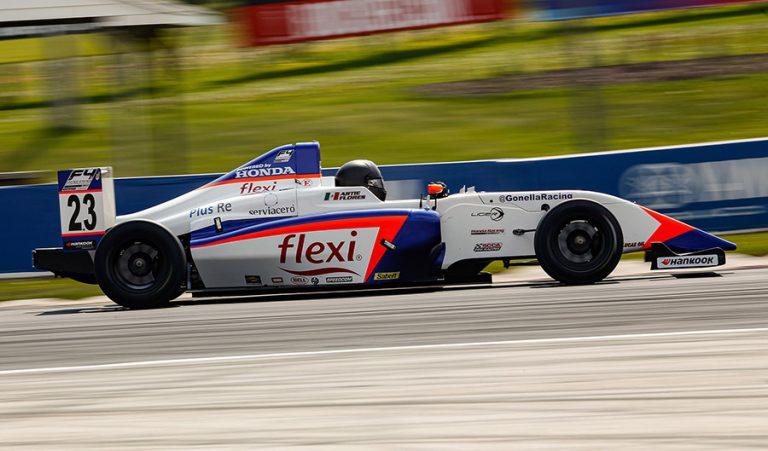 Arturo Flores en la fecha 2 de F4 U.S. con el Gonella Flexi Racing